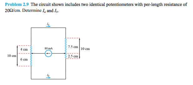 The circuit shown includes two identical potentiom