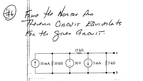 Find the nortion and thevenin theorem circuit equi