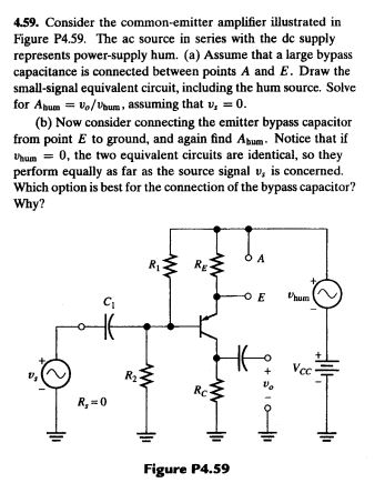 Consider the common-emitter amplifier illustrated