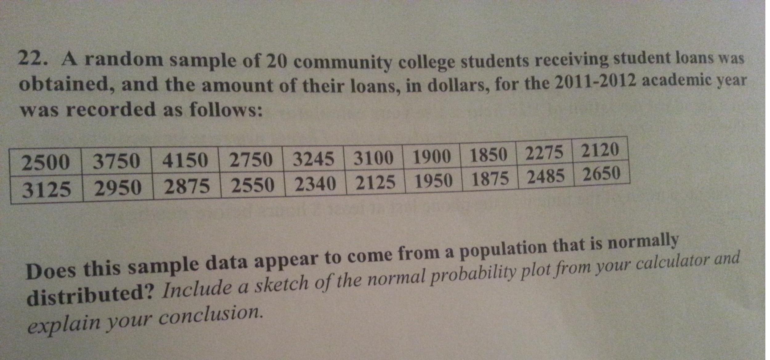 A Random Sample Of 20 Community College Students R...   Chegg.com