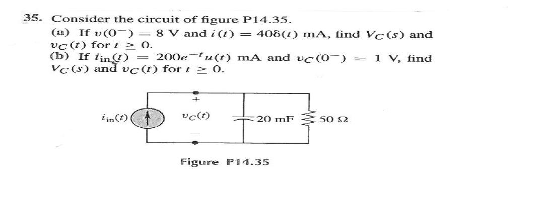 Consider the circuit of figure P14.35. If v (0-)