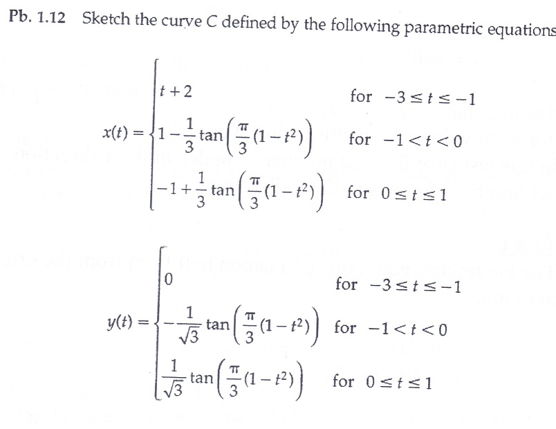 Sketch the curve C defined by the following parame