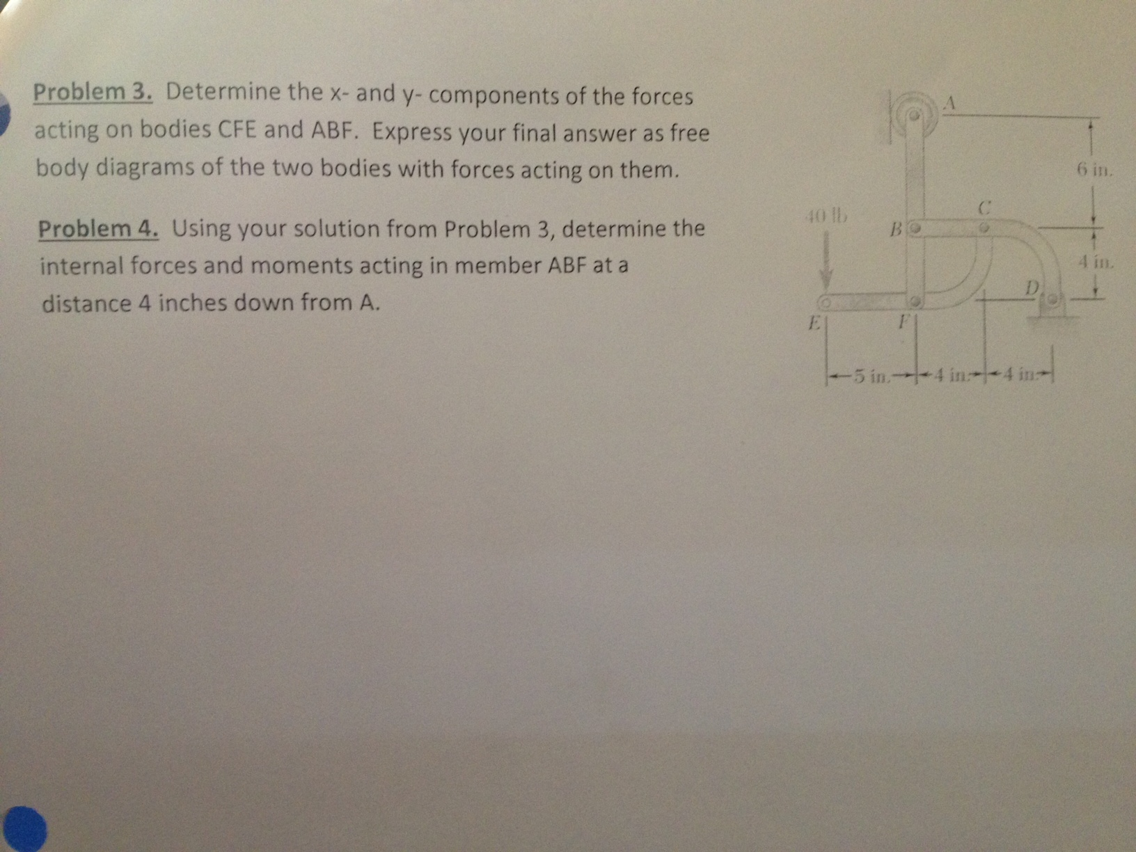 Determine the x- and y- components of the forces a