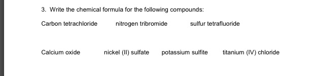 Write the chemical formula for the following compo