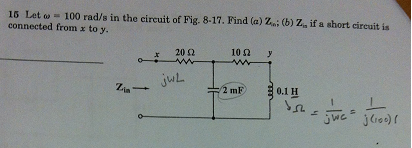 Let omega = 100 rad/s in the circuit of Fig. 8-17.