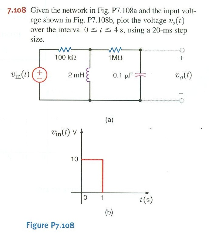 On problem 7.108 the RLC circuit has a variable in