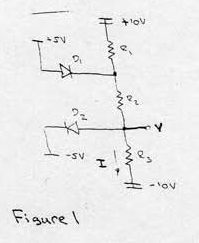 The diodes in figure 1 are ideal. (a) Find the vol