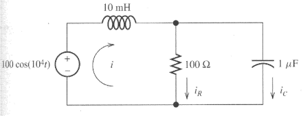 Determine currents i, iR, and iC using nodal analy