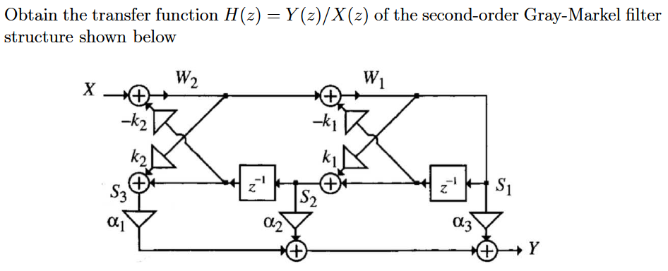 Obtain the transfer function H(z) = Y(z)/X(z) of t