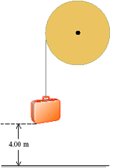 Image for A light rope is wrapped several times around a large wheel with a radius of 0.435 m. The wheel rotates in fric