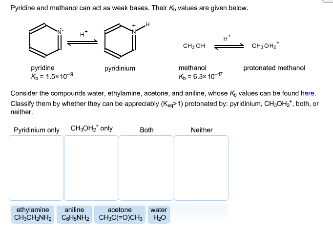 Pyridine and methanol can act as weak bases. Their