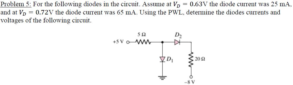 For the following diodes in the circuit. Assume at
