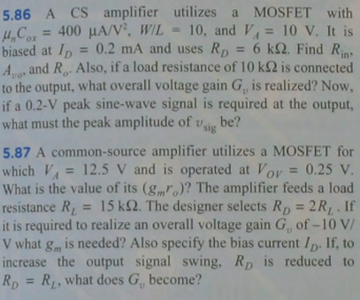 A CS amplifier utilizes a MOSFET with mu nCox = 40