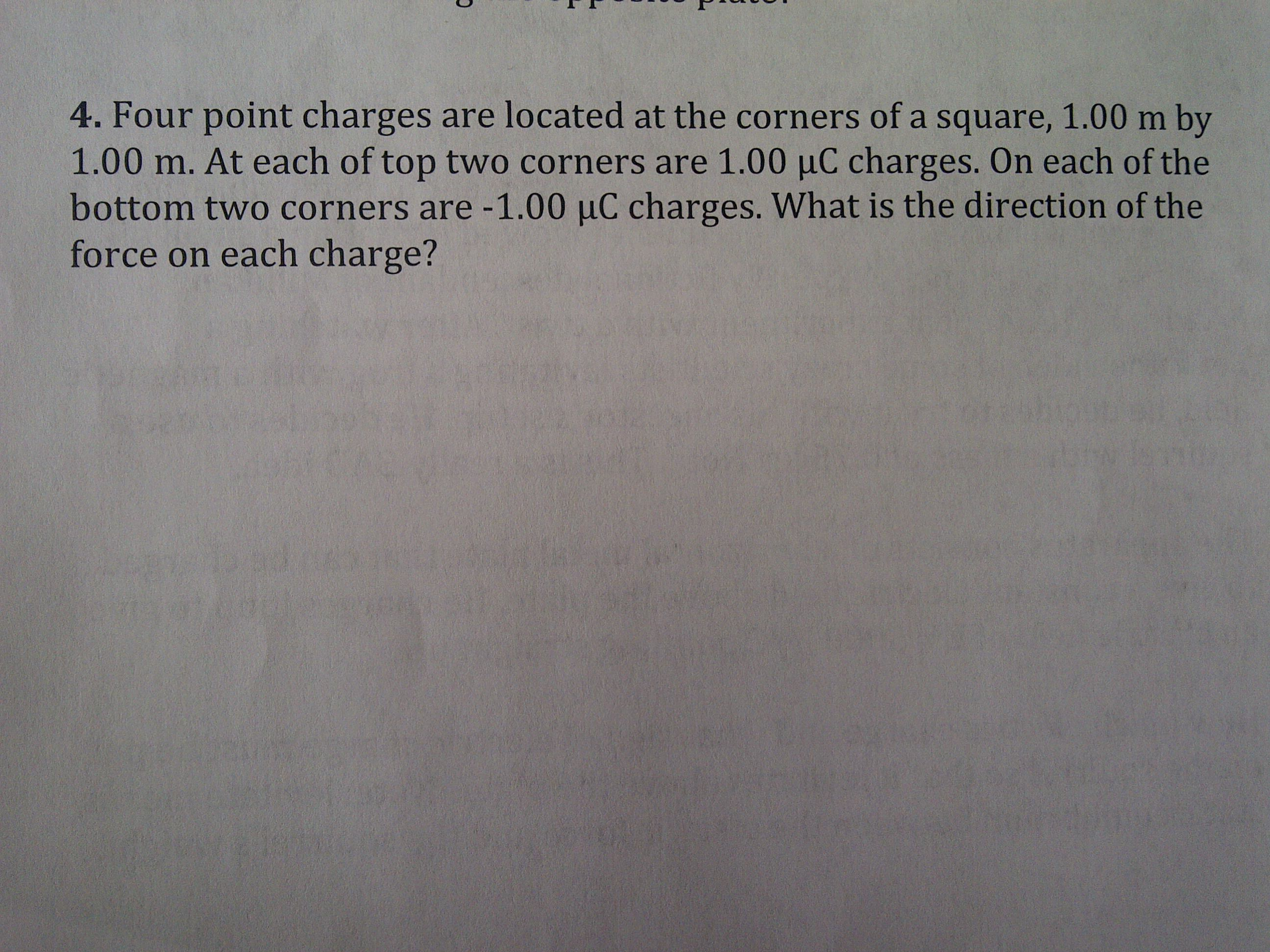 Four point charges are located at the corners of a