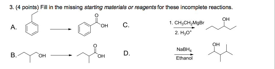 Fill in the missing starting materials or reagents