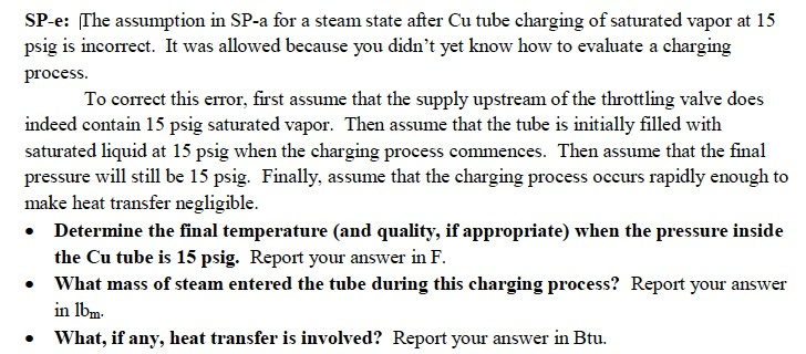 The assumption in SP-a for a steam state after Cu