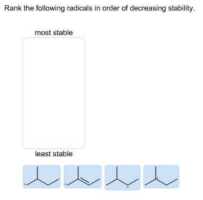 Rank the following radicals in order of decreasing