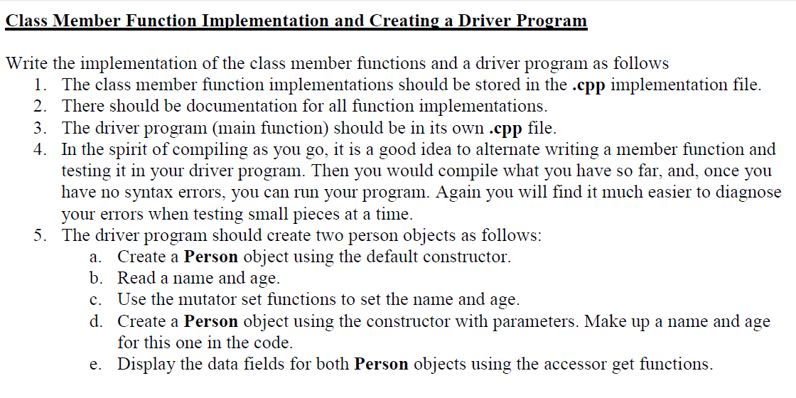 Write the implementation of the class member funct