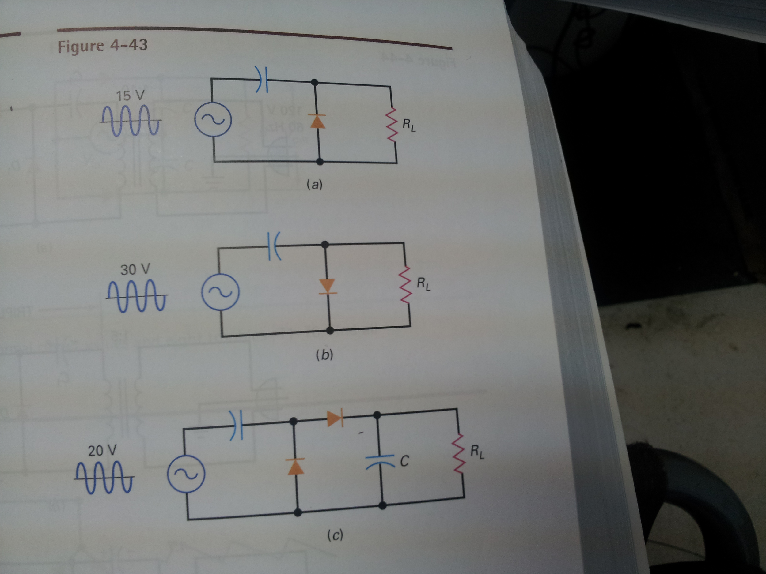 Image for sketch the output waveform of the clamper and final output in fig 4-43c what is the dc putput voltage with ide