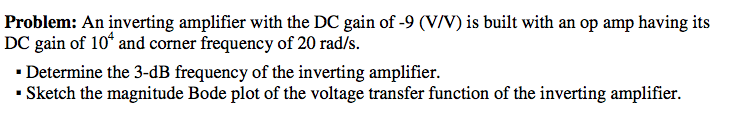 An inverting amplifier with the DC gain of -9 (V/V
