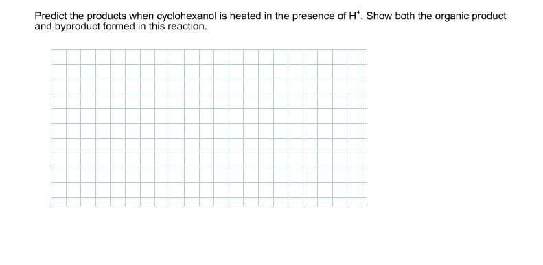 Predict the products when cyclohexanol is heated i