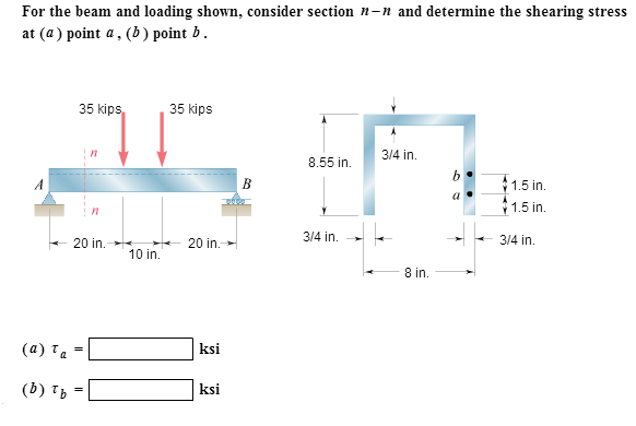 For the beam and loading shown, consider section n