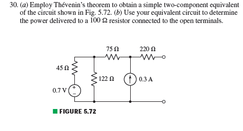 Employ Th venin's theorem to obtain a simple two-