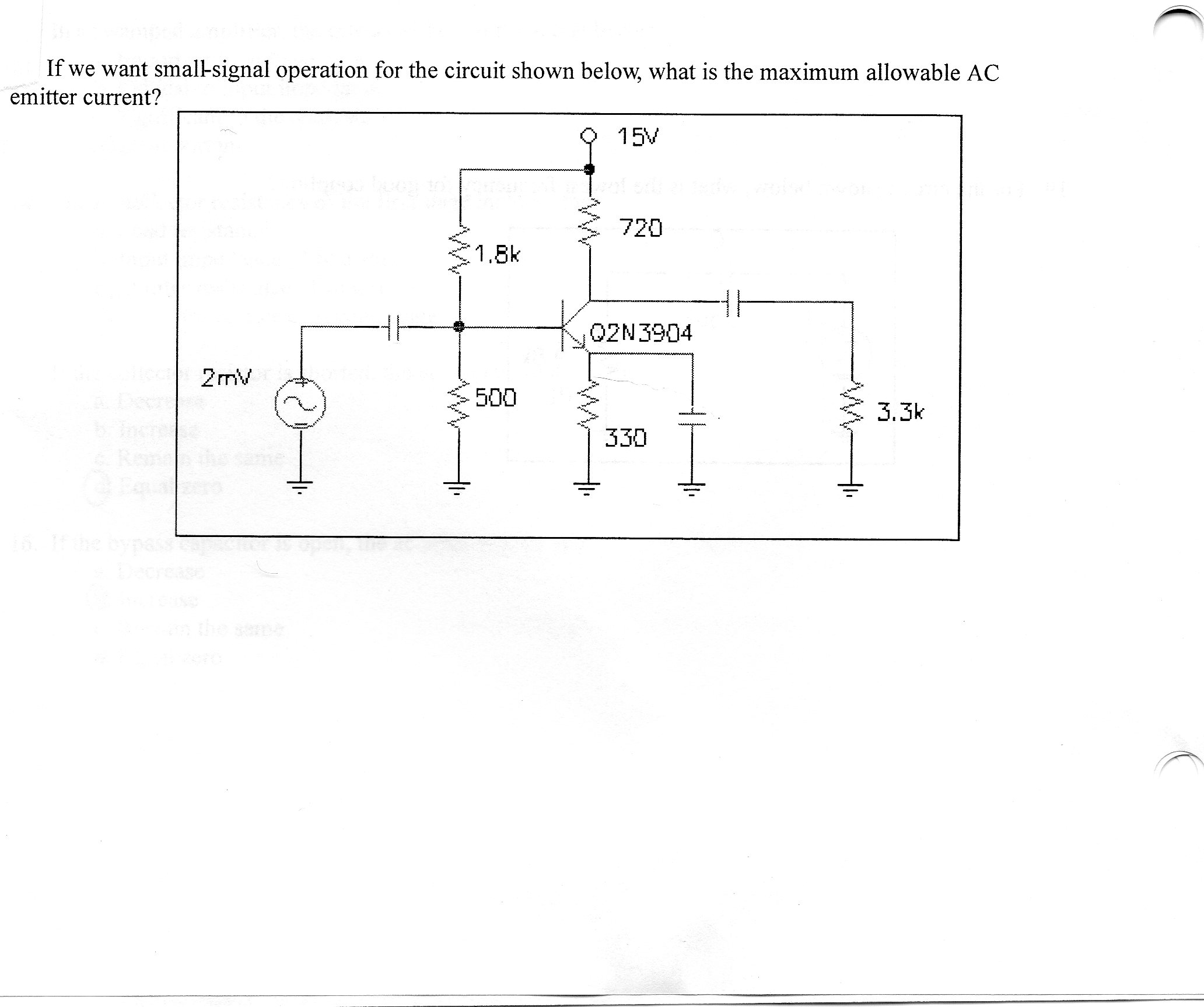 If we want small-signal operation for the circuit