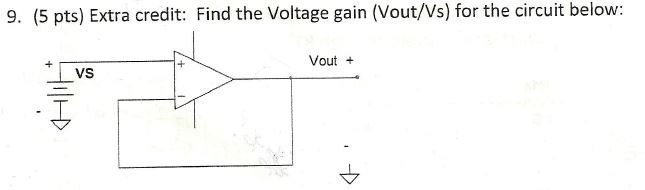Find the Voltage gain (Vout/Vs) for the circuit be