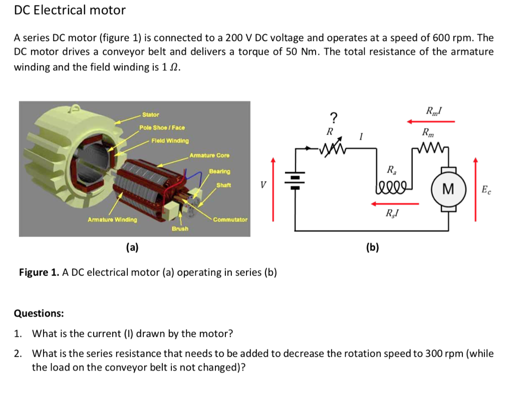 Solved dc electrical motor a series dc motor figure 1 i for Electric motor parts near me