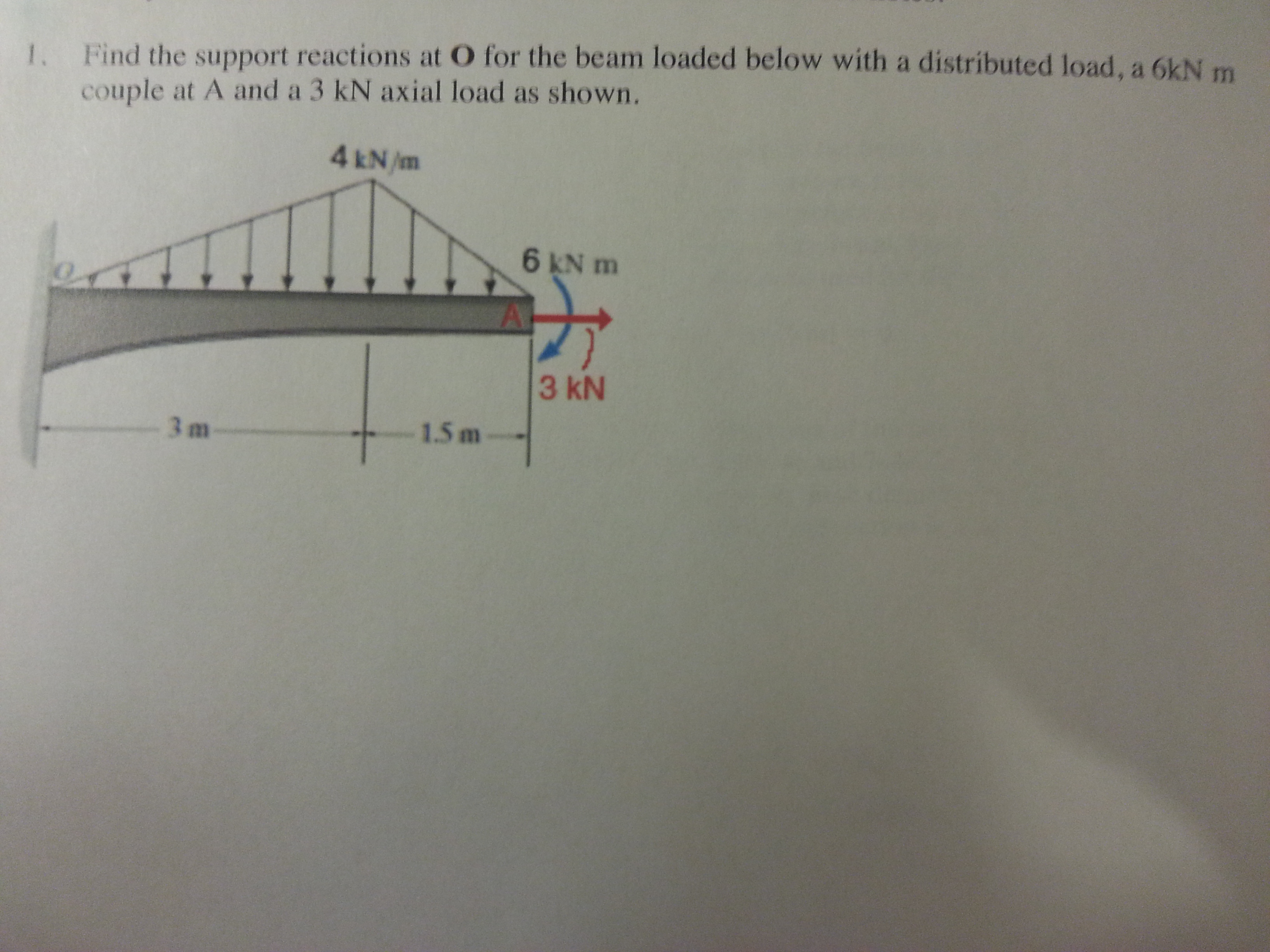 Determine support reactions at O for beam loaded w