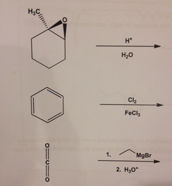 How do i get the product of each reaction? draw th