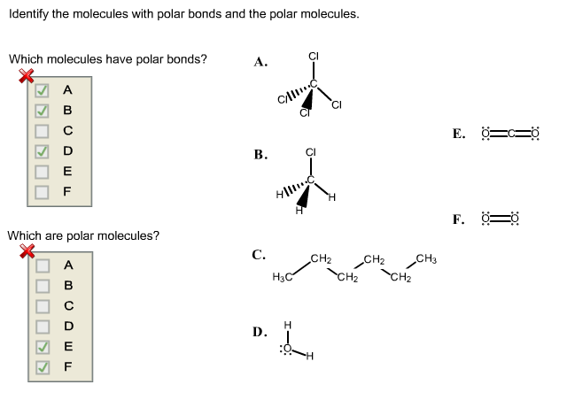 Identify the molecules with polar bonds and the po