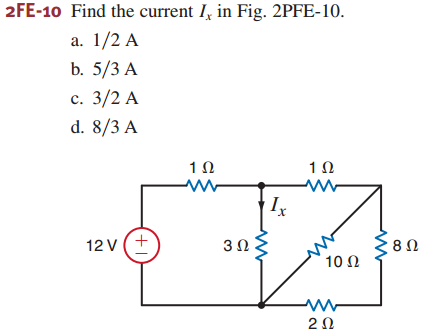 Find the current Ix in Fig. 2PFE-10. 1/2 A 5/3 A