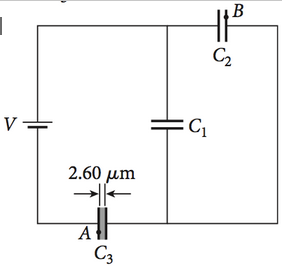 A potential difference ofV= 60.0 V is applied acro