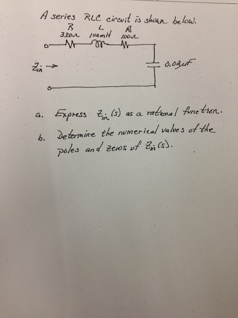 A series RLC circuit is shown below Express as a