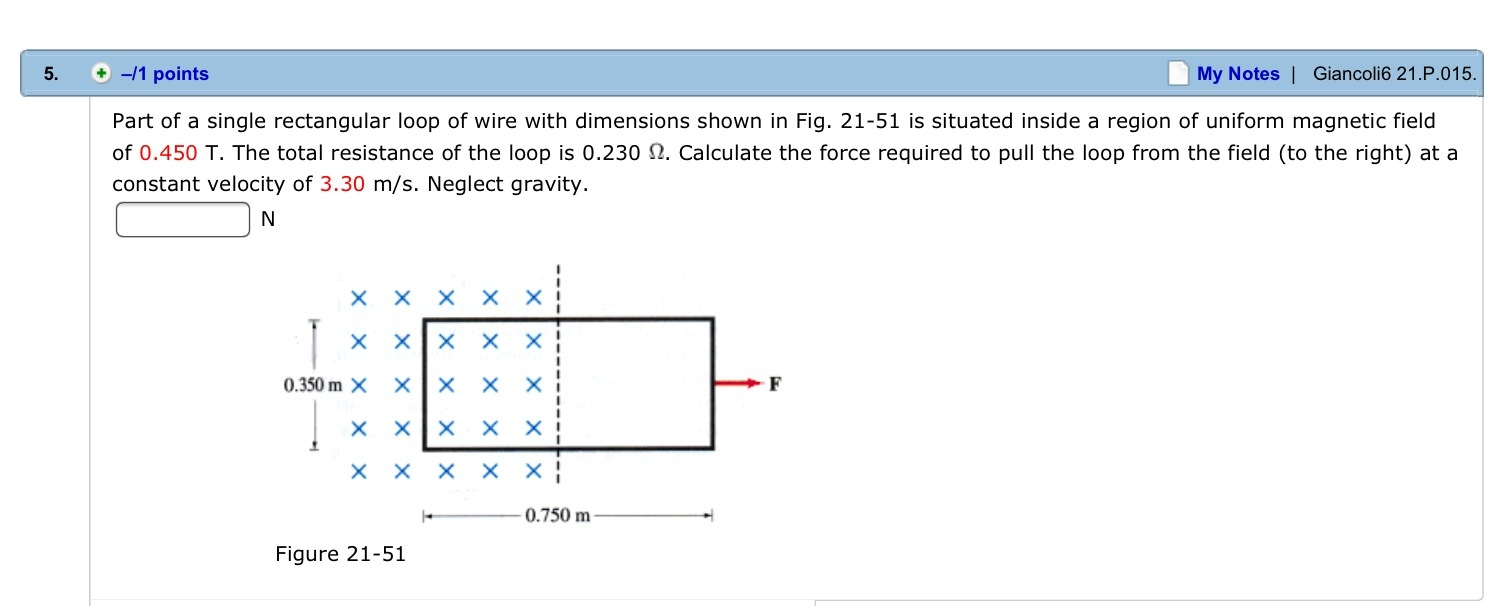 Part of a single rectangular loop of wire with dim