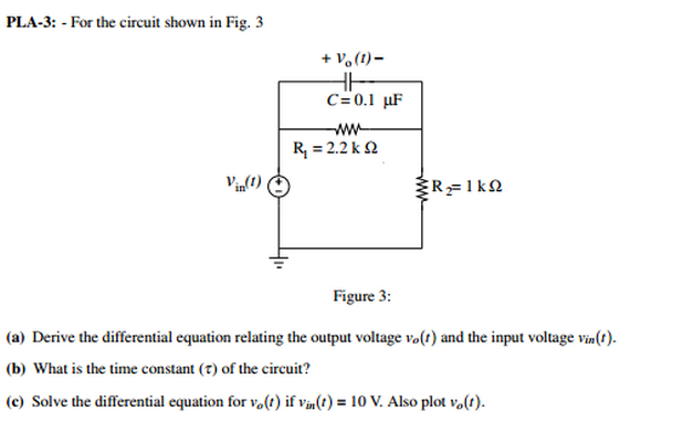 For the circuit shown in Fig. 3 Figure 3: Derive