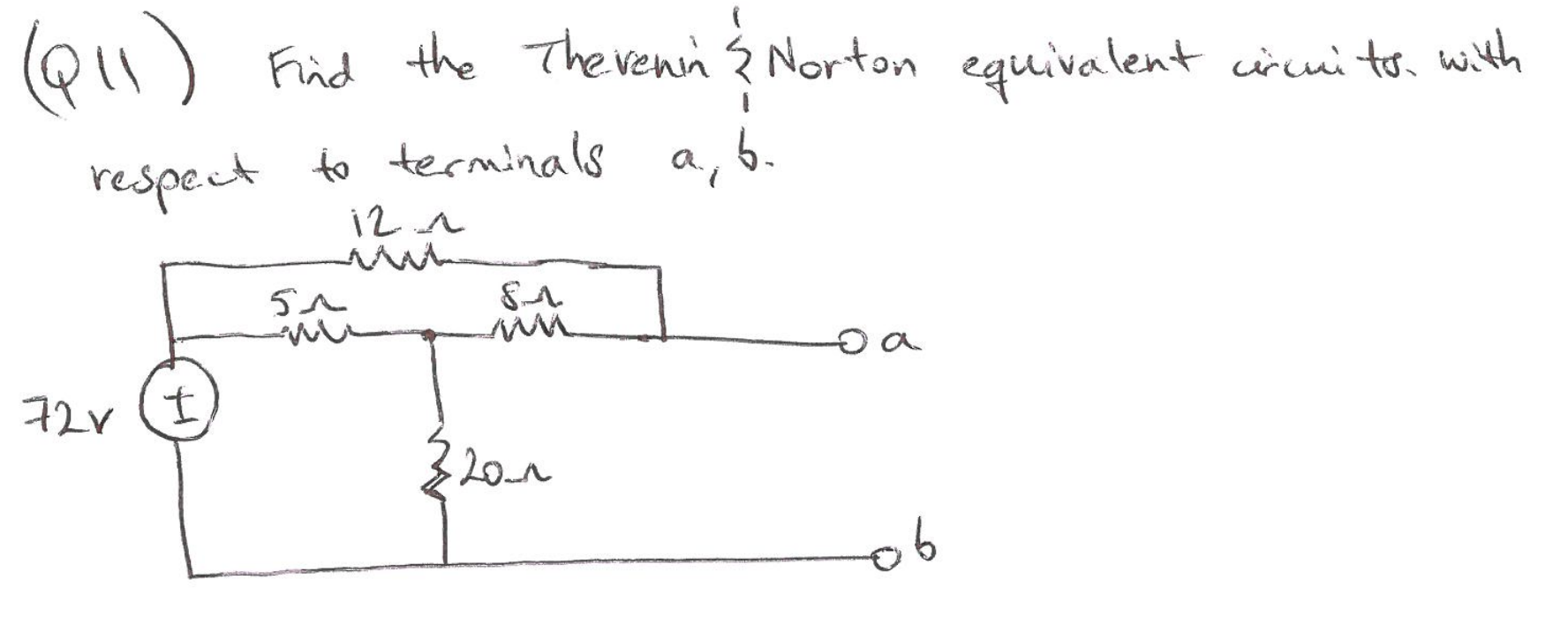 Find th ethevenin norten equivalent circuits with