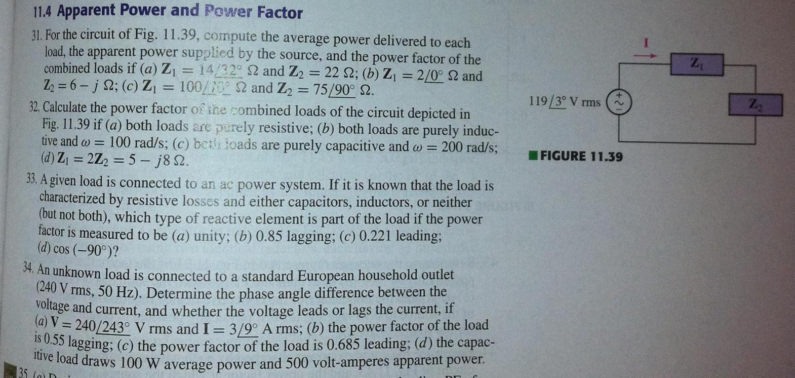 For the circuit of Fig. 11,39, compute the average