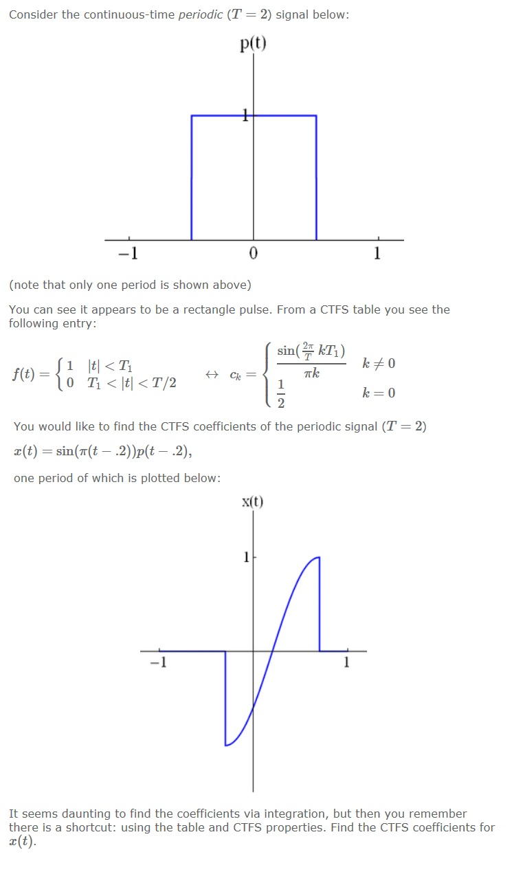 Consider the continuous-time periodic (T = 2) sign