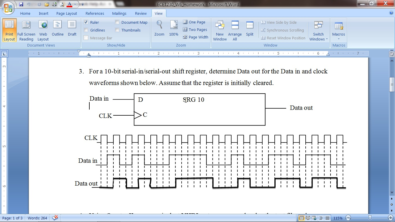 For a 10-bit serial-in/serial-out shift register,