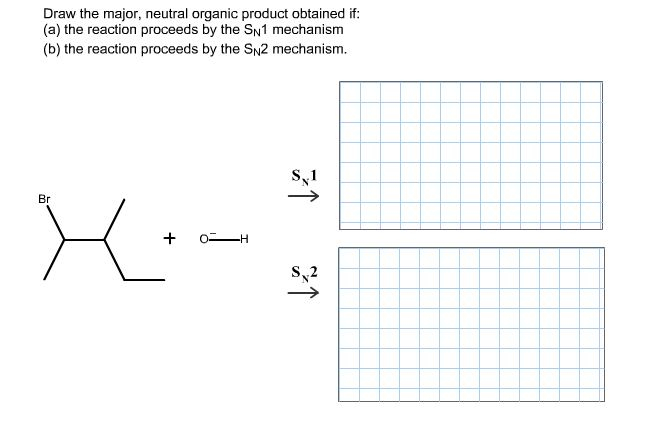 Draw the major, neutral organic product obtained i