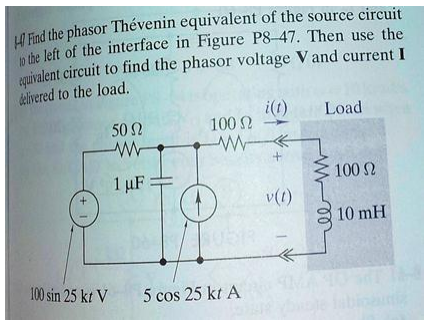 Find the phasor Thevenin equivalent of the source