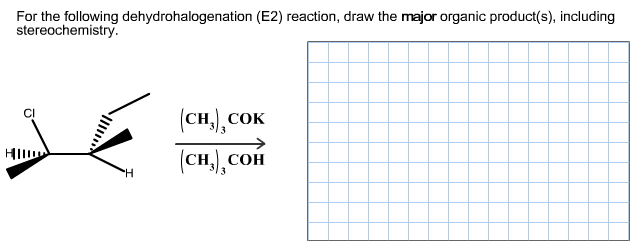 For the following dehydrohalogenation (E2) reactio