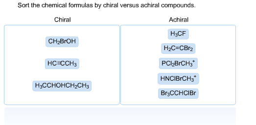 Sort the chemical formulas by chiral versus achira