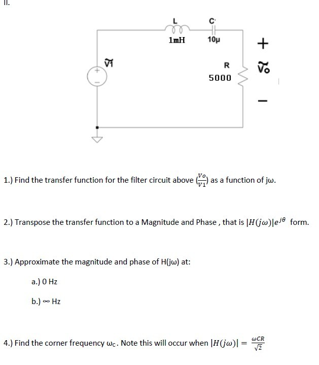 Find the transfer function for the filter circuit