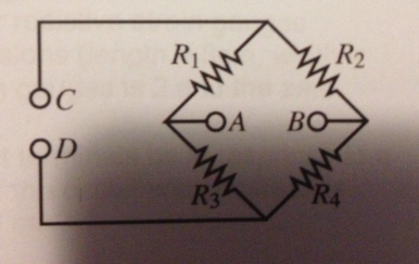 For the bridge Circuit shown where, R1= 2.2 KOhms