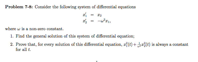 Consider the following system of differential equa