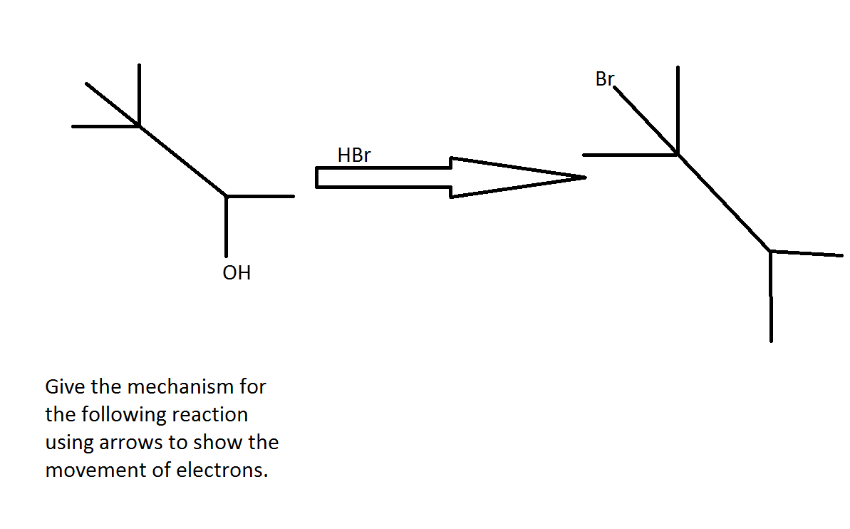Give the mechanism for the following reaction usin